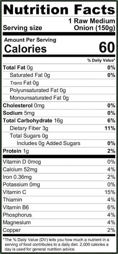 Vidalia Onion Nutritional Info
